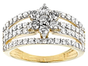 White Diamond 10K Yellow Gold Cluster Ring 1.25ctw