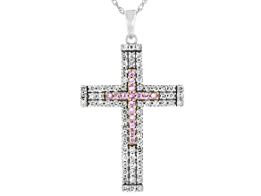 Pink Sapphire & White Diamond 10K White Gold Cross Pendant 0.90ctw
