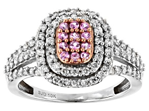 Pink Sapphire & White Diamond 10K White Gold Cluster Ring 0.95ctw