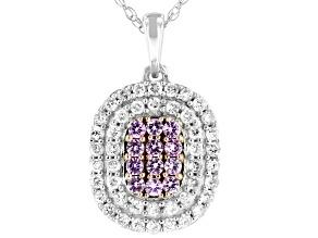Pink Sapphire & White Diamond 10K White Gold Cluster Pendant 0.60ctw