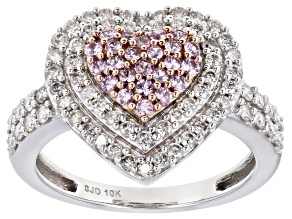 Pink Sapphire & White Diamond 10K White Gold Heart Cluster Ring 1.10ctw
