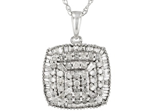 "White Diamond 10k White Gold Cluster Pendant With 18"" Rope Chain 0.80ctw"