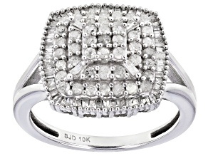 White Diamond 10k White Gold Cluster Ring 0.80ctw