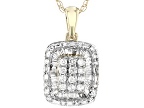 White Diamond 10K Yellow Gold Cluster Pendant 0.40ctw