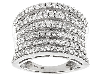 Picture of White Diamond 10K White Gold Multi-Row Cocktail Ring 2.10ctw
