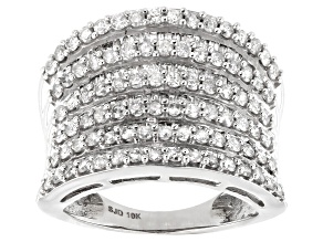 White Diamond 10K White Gold Multi-Row Cocktail Ring 2.10ctw