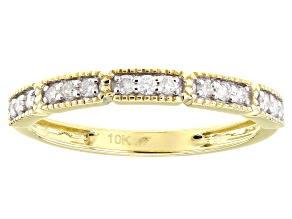 White Diamond 10K Yellow Gold Band Ring 0.20ctw