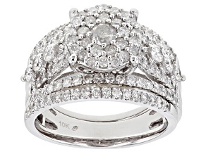 White Diamond 10K White Gold Cluster Ring With Set of 2 Bands 2.00ctw