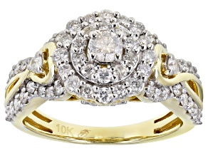 White Diamond 10K Yellow Gold Cluster Ring 1.21ctw