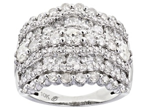 White Diamond 10K White Gold Cocktail Ring 2.50ctw