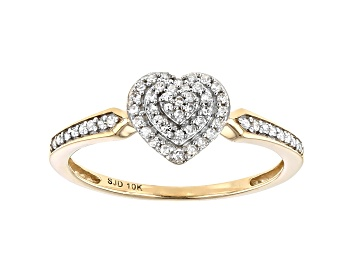Picture of White Diamond 10k Yellow Gold Heart Cluster Ring 0.15ctw