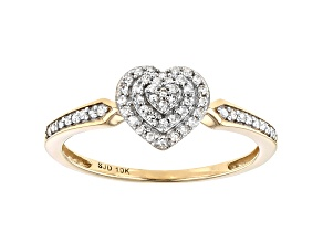 White Diamond 10k Yellow Gold Heart Cluster Ring 0.15ctw