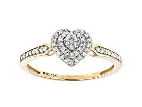 White Diamond 10k Yellow Gold Heart Cluster Ring 0.15ctw
