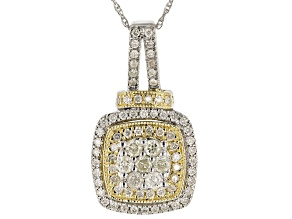 White Diamond 10K Two-Tone Gold Cluster Pendant 0.75ctw