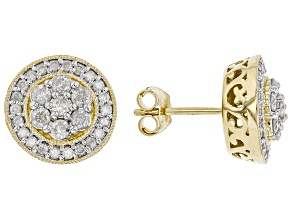 White Diamond 10K Yellow Gold Cluster Stud Earrings 1.00ctw