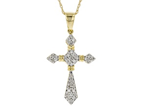 White Diamond 10K Yellow Gold Cross Pendant 0.20ctw