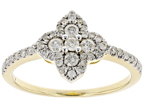 White Diamond 10K Yellow Gold Flower Cluster Ring 0.42ctw