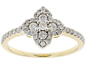 White Diamond 10K Yellow Gold Flower Cluster Ring 0.42ctw