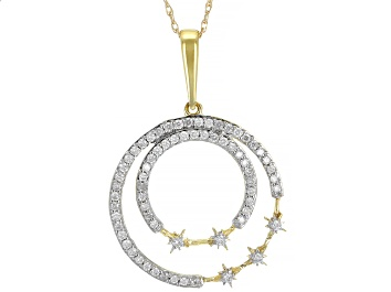 Picture of White Diamond 10K Yellow Gold Circle Pendant 0.33ctw