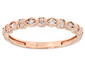 White Diamond 10K Rose Gold Band Ring 0.14ctw