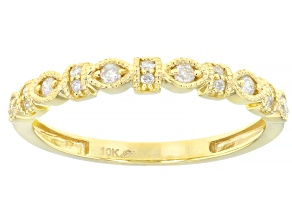White Diamond 10K Yellow Gold Band Ring 0.14ctw