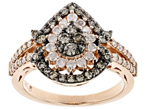 Champagne & White Diamond 10K Rose Gold Cluster Ring 1.00ctw