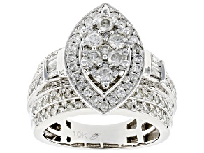 White Diamond 10K White Gold Cocktail Ring 2.00ctw