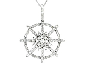White Diamond 10K White Gold Nautical Inspired Pendant 1.00ctw
