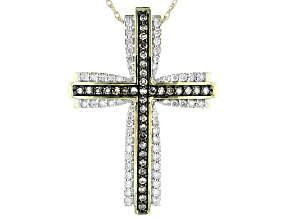 Champagne And White Diamond 10K Yellow Gold Cross Pendant 0.50ctw