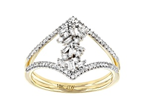 White Diamond 10k Yellow Gold Open Design Ring 0.33ctw