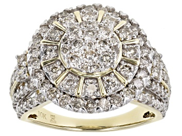 Picture of White Diamond 10K Yellow Gold Cluster Ring 2.00ctw