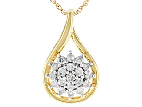 White Diamond 10K Yellow Gold Cluster Pendant 0.33ctw