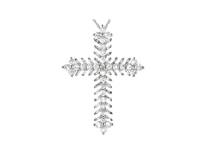 White Diamond 10K White Gold Cross Pendant 1.25ctw