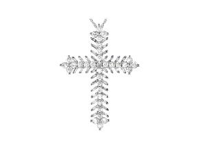 White Diamond 10K White Gold Cross Pendant 1.25ctw