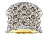 Champagne And White Diamond 14k Yellow Gold Ring 3.25ctw