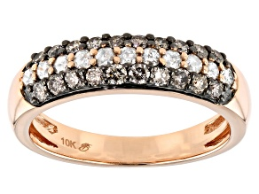 Champagne & White Diamond 10K Rose Gold Band Ring 0.75ctw