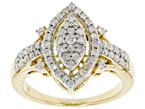 White Diamond 10K Yellow Gold Cluster Ring 0.75ctw