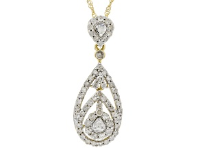 White Diamond 10K Yellow Gold Cluster Pendant With Chain 0.74ctw