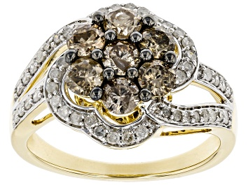 Picture of Champagne & White Diamond 10K Yellow Gold Cluster Ring 1.38ctw