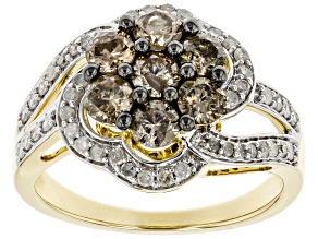 Champagne & White Diamond 10K Yellow Gold Cluster Ring 1.38ctw