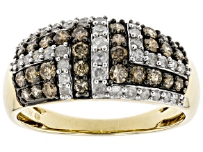Champagne & White Diamond 10K Yellow Gold Wide Band Ring 0.88ctw