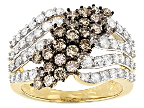 Champagne & White Diamond 10K Yellow Gold Crossover Ring 2.00ctw