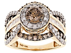 Champagne & White Diamond 10K Yellow Gold Crossover Ring 2.20ctw