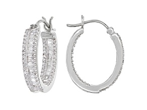 White Diamond 10K White Gold Hoop Earrings 1.00ctw