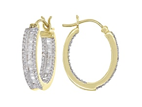 White Diamond 10K Yellow Gold Hoop Earrings 1.00ctw