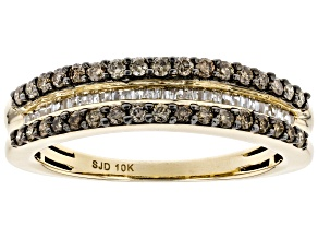 Champagne & White Diamond 10K Yellow Gold Band Ring