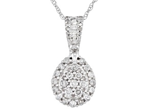White Diamond 10K White Gold Cluster Pendant 0.50ctw
