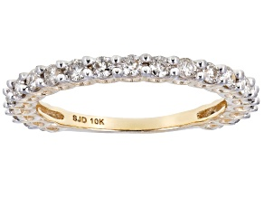 White Diamond 10K Yellow Gold Band Ring 0.65ctw
