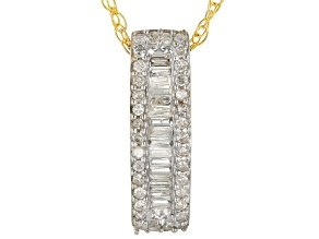 White Diamond 10K Yellow Gold Bar Pendant 0.20ctw