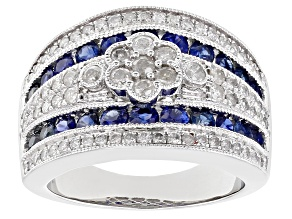 Blue Sapphire And White Diamond 10k White Gold Statement Ring 2.50ctw